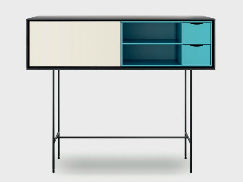 Lacquered wooden console table AURA S8-2 by TREKU