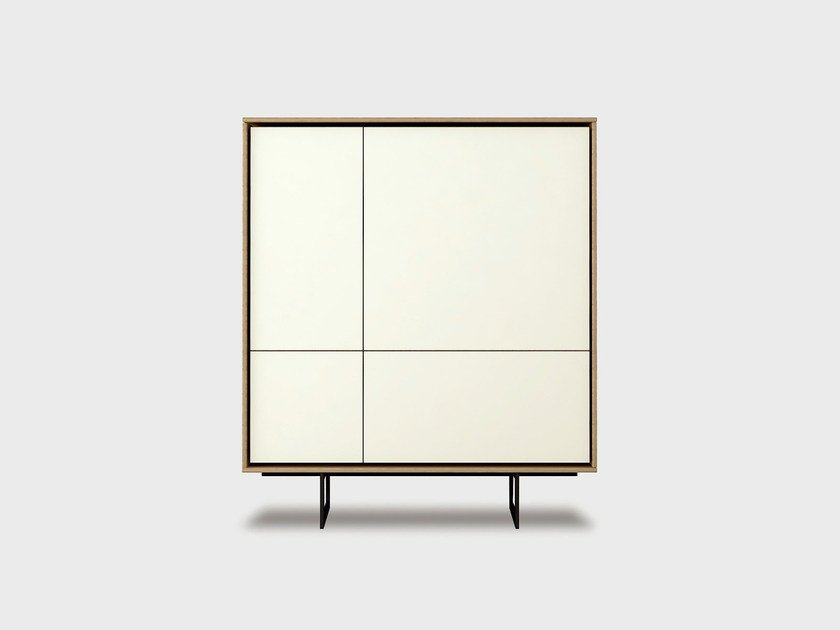 Lacquered solid wood highboard AURA S5-2 by TREKU