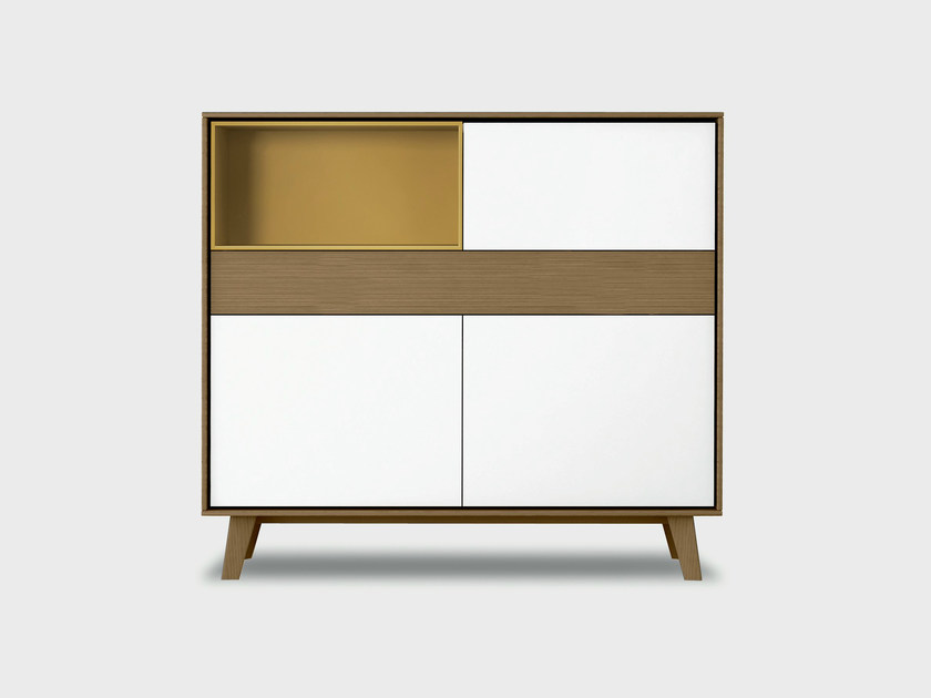 Lacquered solid wood highboard AURA S6-2 by TREKU