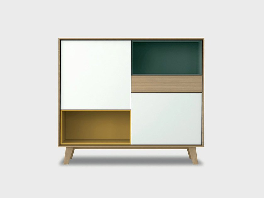 Lacquered solid wood highboard AURA S5-3 by TREKU