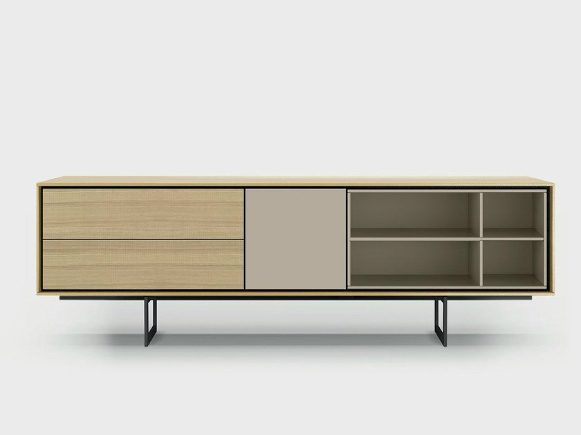 Lacquered solid wood sideboard AURA C1-3 by TREKU