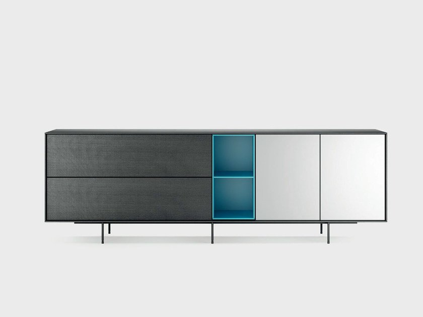 Lacquered solid wood sideboard AURA S9-2 by TREKU