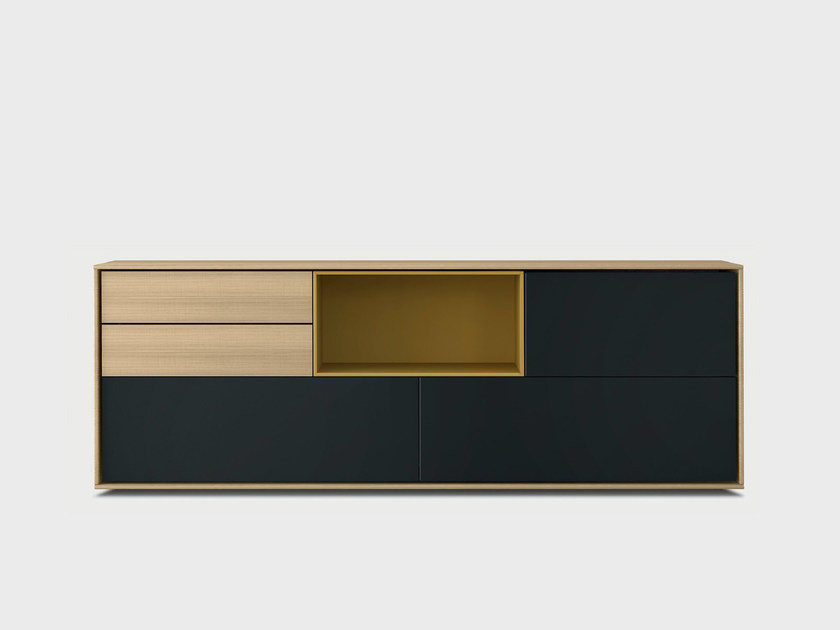 Lacquered solid wood sideboard AURA S4-3 by TREKU