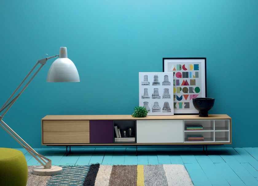 Lacquered solid wood sideboard AURA C3 by TREKU