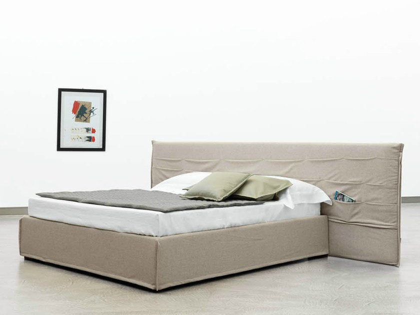 Double bed with storage headboard TASCA | Bed with upholstered headboard by Casamania & Horm