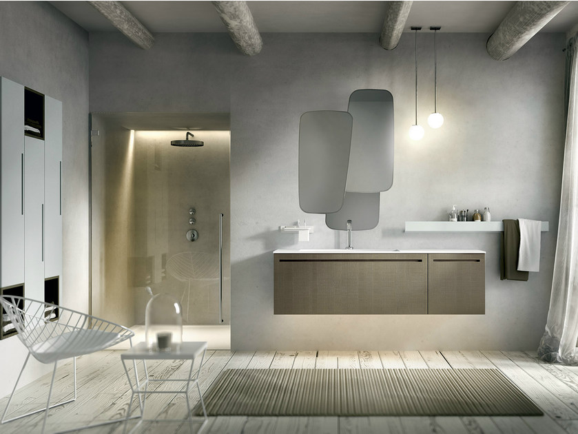 Lacquered wall-mounted vanity unit with cabinets KER 316 by Edoné by Agorà Group