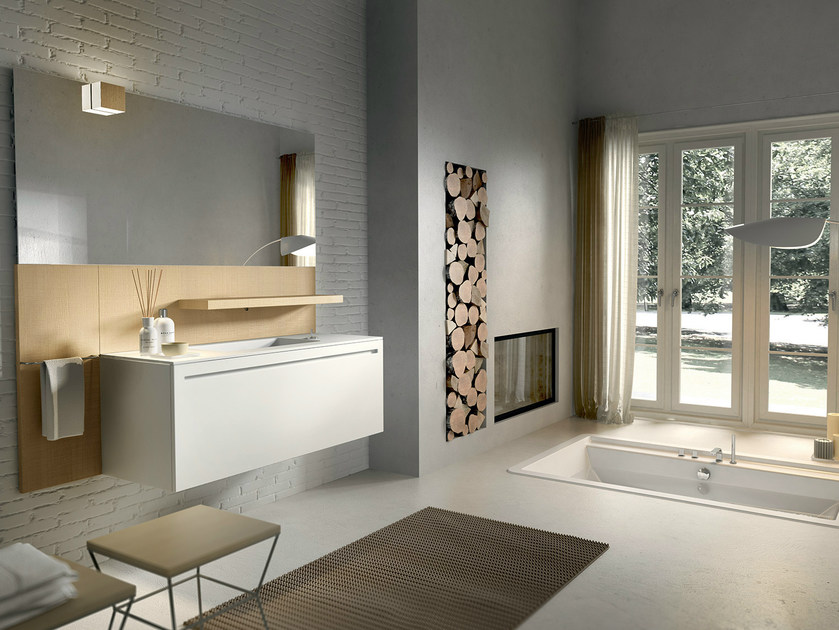 Lacquered wall-mounted vanity unit with mirror KER 318 by Edoné by Agorà Group