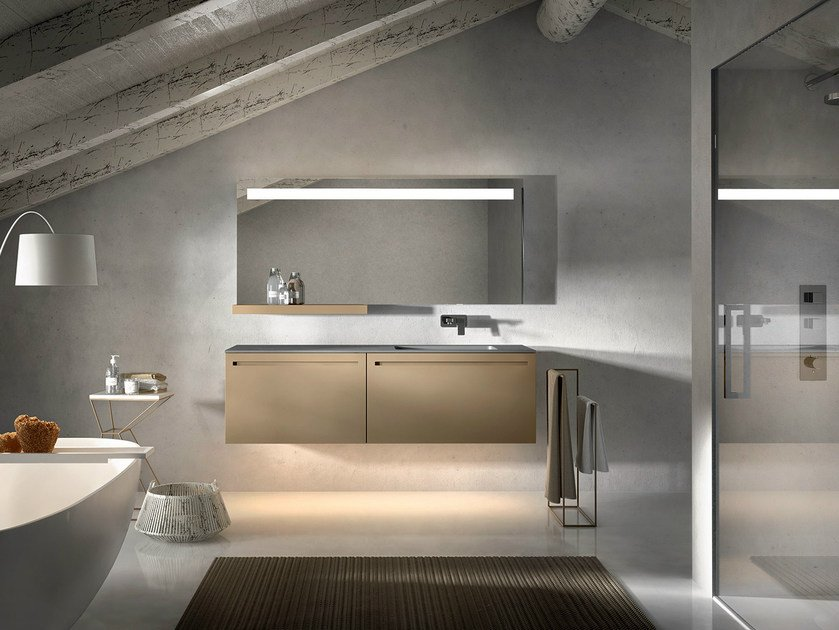Lacquered wall-mounted vanity unit with mirror KER 317 by Edoné by Agorà Group