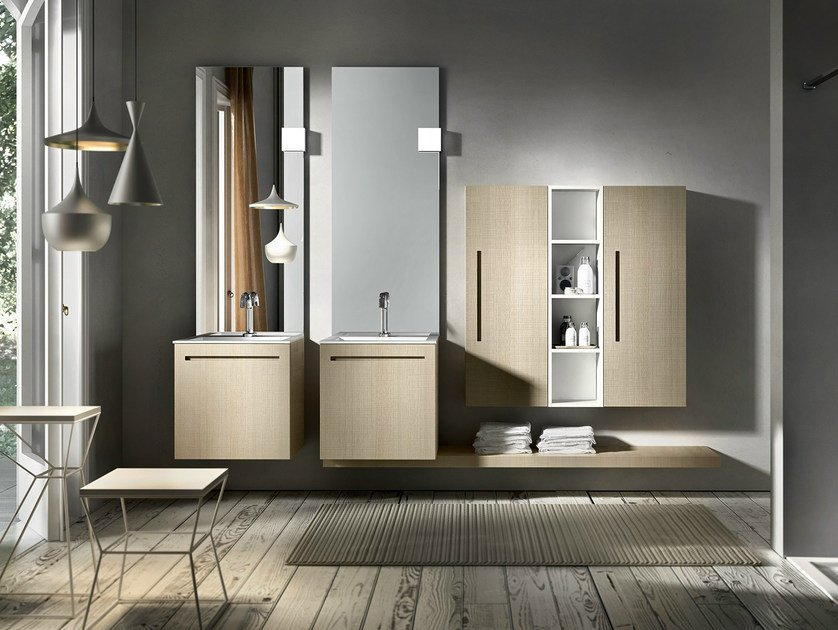 Double wall-mounted oak vanity unit with mirror KER 319 by Edoné by Agorà Group