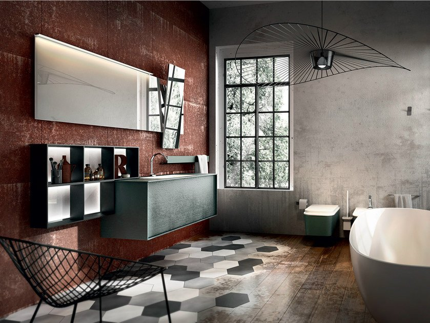 Wall-mounted resin vanity unit with mirror REGOLO 322 by Edoné by Agorà Group
