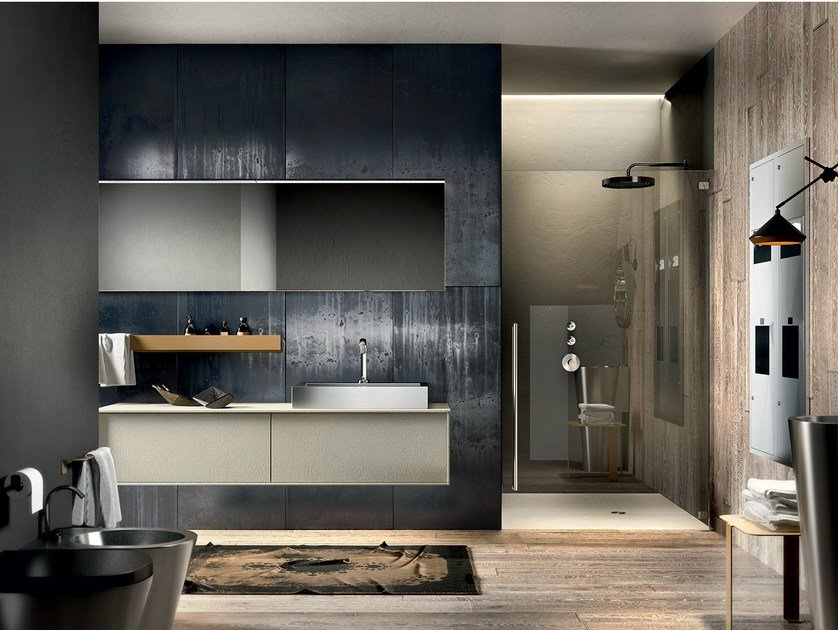 Lacquered wall-mounted vanity unit with mirror REGOLO 323 by Edoné by Agorà Group