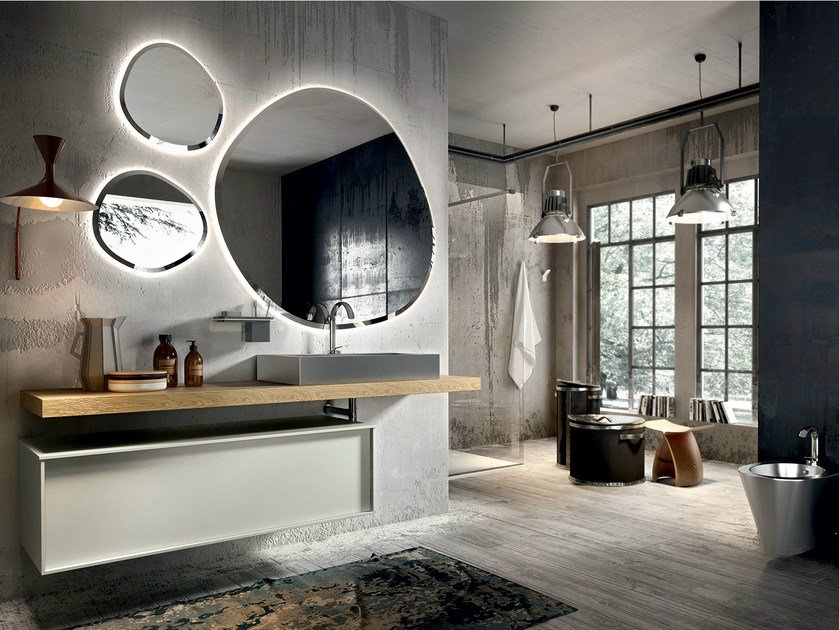 Lacquered wall-mounted vanity unit with mirror REGOLO 324 by Edoné by Agorà Group