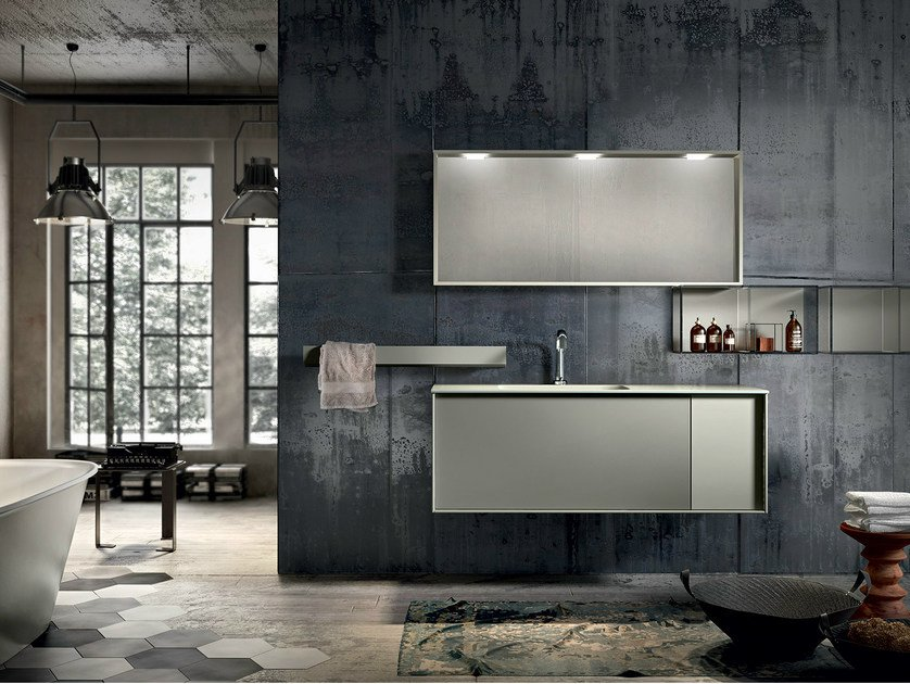 Lacquered wall-mounted vanity unit with mirror REGOLO 325 by Edoné by Agorà Group