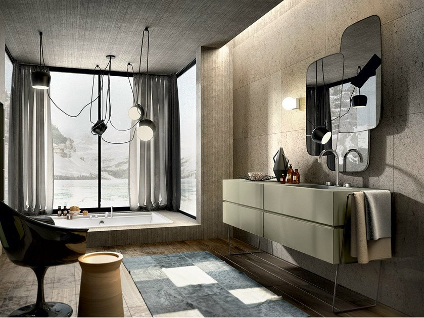 Lacquered vanity unit with mirror NIKE 326 by Edoné by Agorà Group