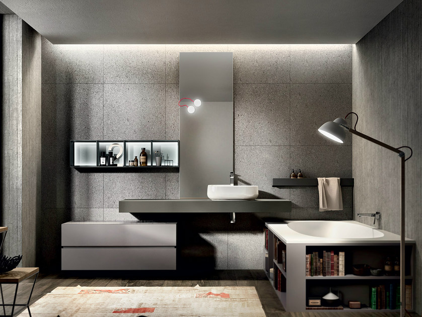 Lacquered wall-mounted vanity unit with mirror NIKE 328 by Edoné by Agorà Group