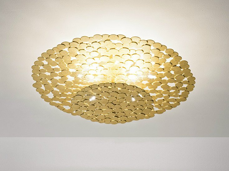 Halogen gold leaf ceiling lamp TRESOR | Ceiling lamp by TERZANI