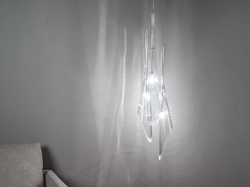 Halogen crystal pendant lamp CALLE | Crystal pendant lamp by TERZANI