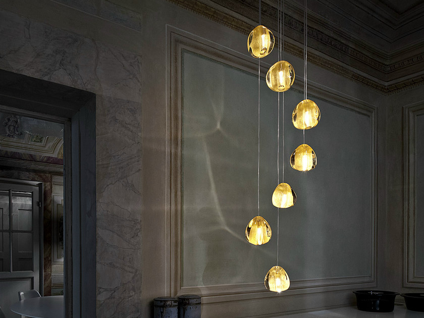 Halogen crystal pendant lamp MIZU | Crystal pendant lamp by TERZANI