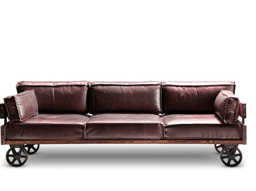Attirant 3 Seater Leather Sofa With Casters RAILWAY | Sofa By KARE DESIGN