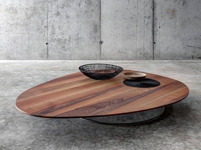 Low wooden coffee table for living room soglio by fioroni for Low coffee table wood