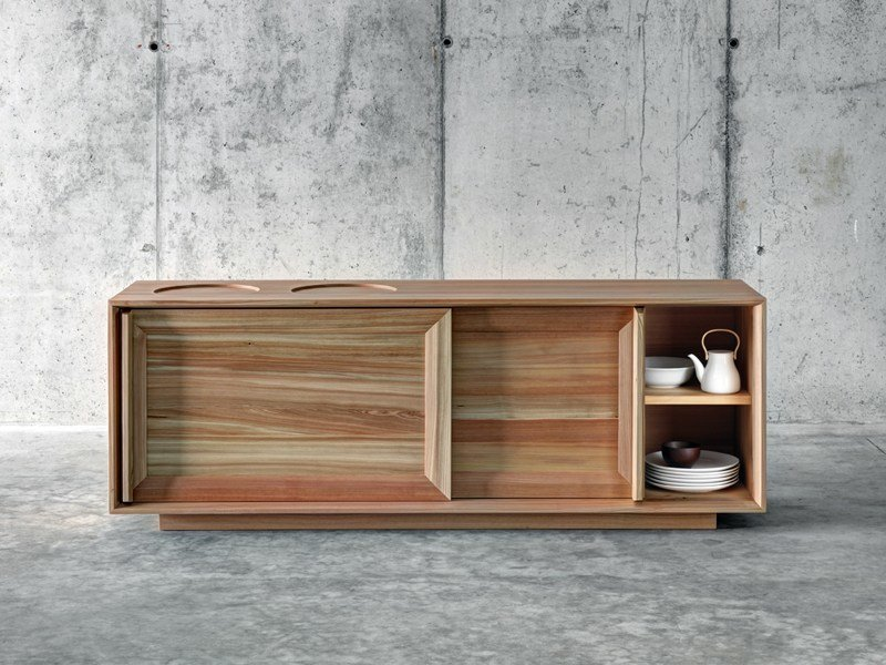 Larch sideboard with sliding doors LÀRES by FIORONI