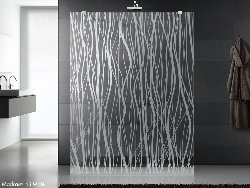 Decorated and satinated glass for shower screens MADRAS® FILI MATE' by Vitrealspecchi