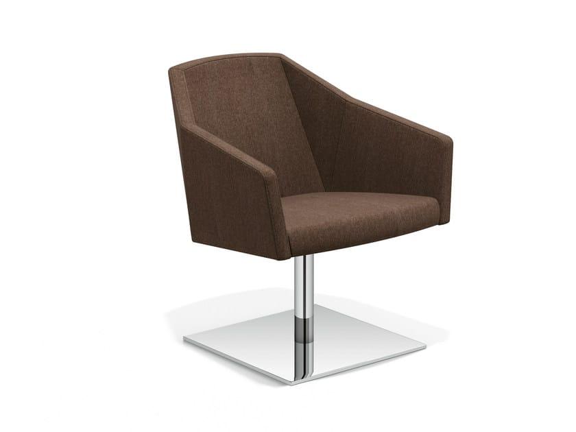 Swivel trestle-based easy chair PARKER V | Swivel easy chair by Casala