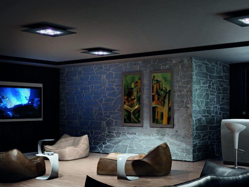 Carbon fibre ceiling lamp SQUARE PL by Vetreria Vistosi