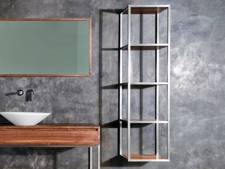 Open steel and wood wall cabinet with shelves DUKE | Open wall cabinet by KARPENTER