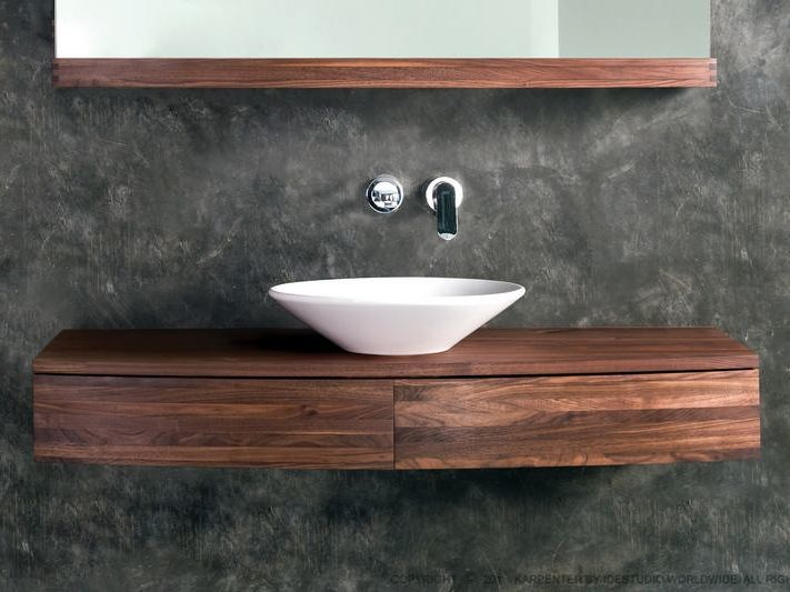 Single wall-mounted wooden vanity unit with drawers MILES | Vanity unit with drawers by KARPENTER