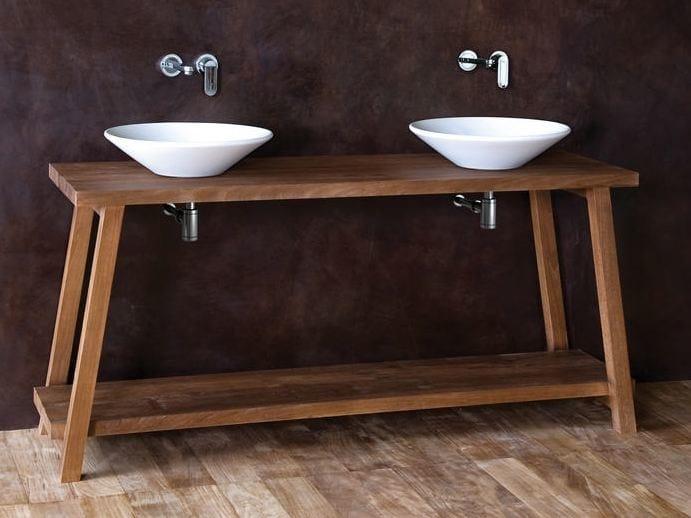 Floor-standing wooden console sink MONK   Console sink by KARPENTER