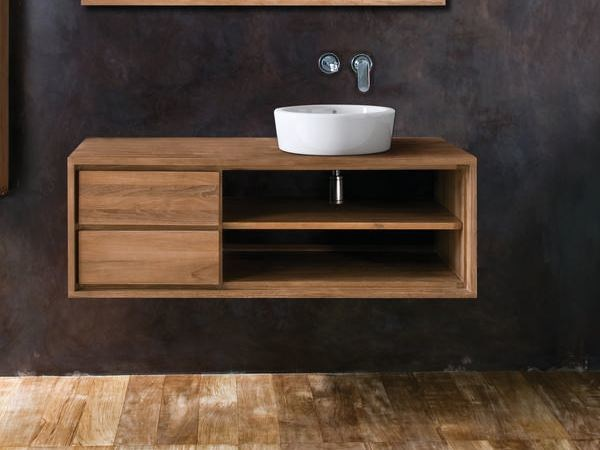 Single wall-mounted wooden vanity unit with drawers PARKER | Vanity unit by KARPENTER