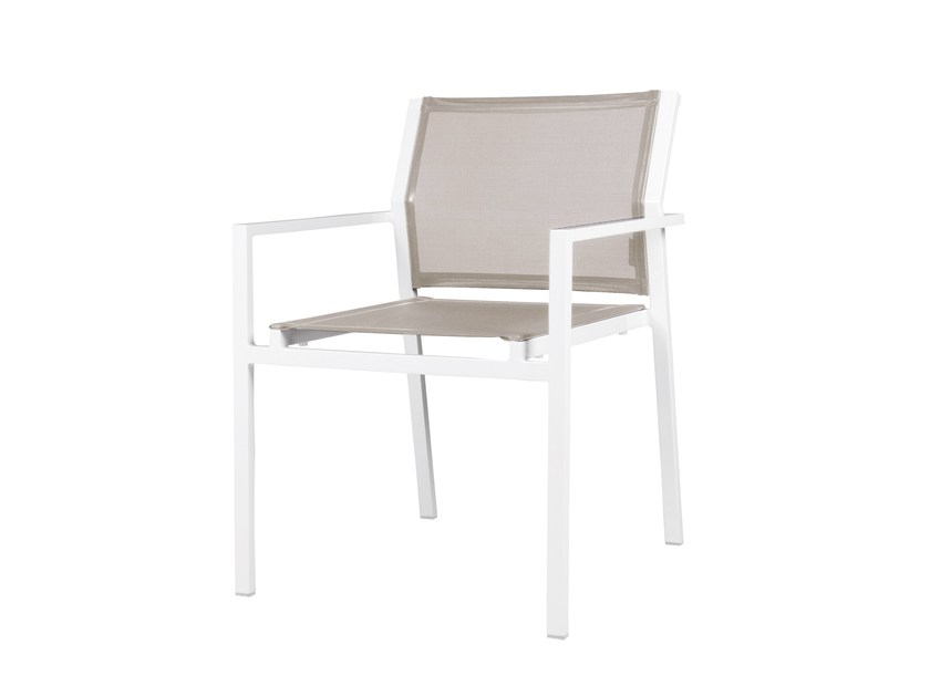 Stackable aluminium garden chair with armrests ALLUX Stackable Dining Armchair by MAMAGREEN