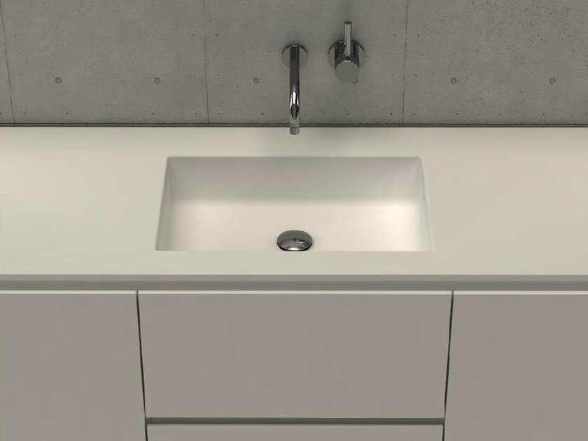 Inset rectangular washbasin with integrated countertop MODUL DESK 50 by DIMASI BATHROOM
