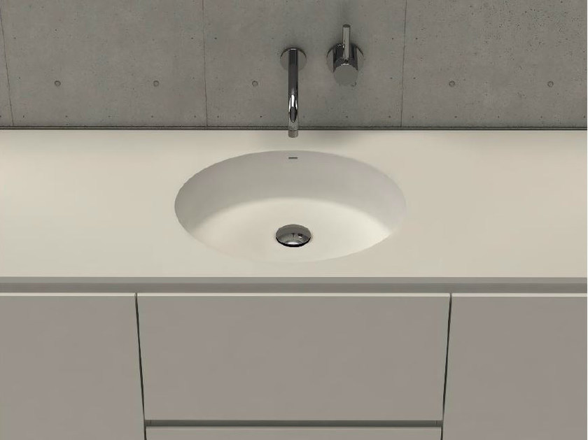 Inset round washbasin with integrated countertop CIRCLE TOP by DIMASI BATHROOM