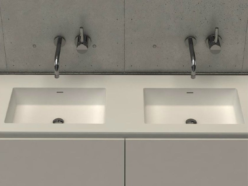 Inset rectangular washbasin with integrated countertop MODUL DESK 60 D by DIMASI BATHROOM
