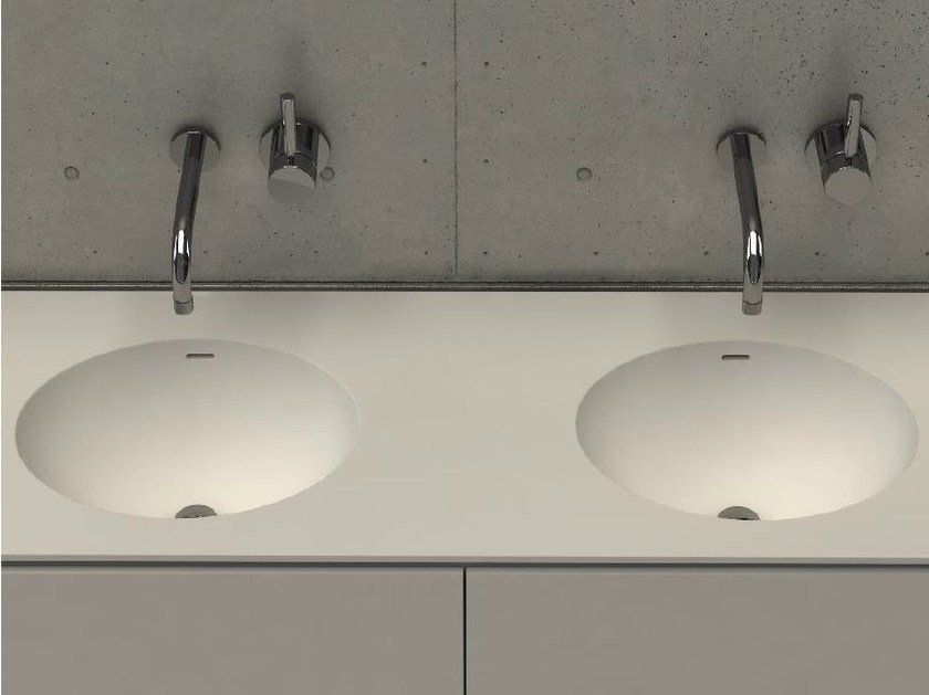 Inset oval washbasin with integrated countertop ELI TOP D by DIMASI BATHROOM