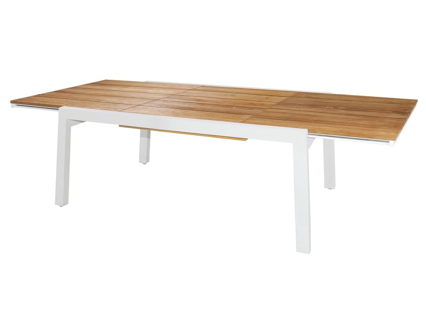 Extending aluminium and wood garden table BAIA Extension Table 170-280x100 cm by MAMAGREEN