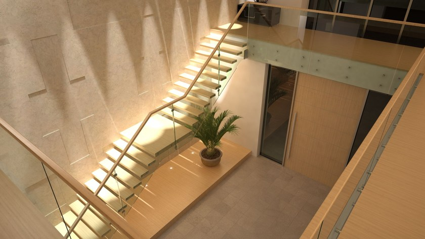 Self Supporting Straight Wood And Glass Open Staircase CANTILEVERED STAIRS  | Glass And Steel Open Staircase