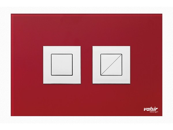 Tempered glass flush plate CRYSTAL RED BRILLANT by Valsir