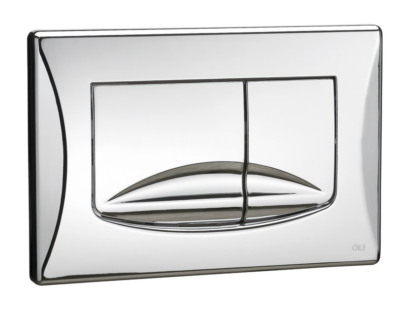 Glossy steel flush plate RIVER DUAL   Glossy steel flush plate by OLI