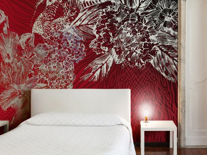 Washable vinyl wallpaper with floral pattern ANIMA SELVAGGIA by GLAMORA