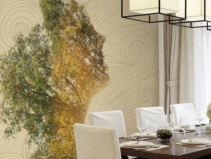 Washable vinyl wallpaper SMILING WOOD by GLAMORA