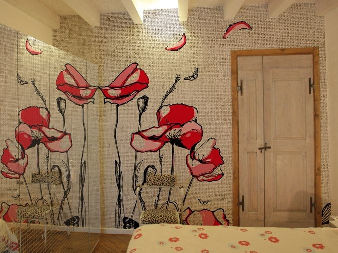 Vinyl wallpaper with floral pattern POPPIES by GLAMORA