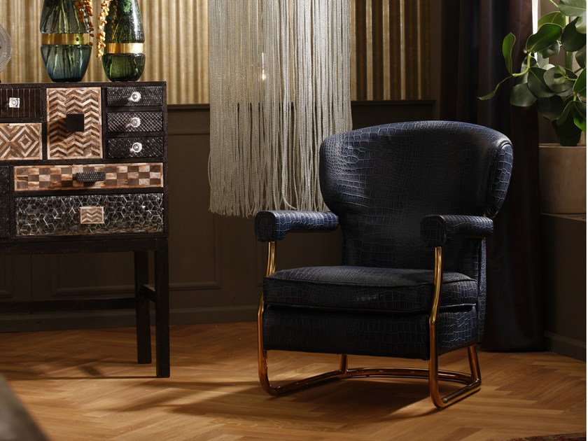 Leather armchair with armrests MOCCA | Armchair by KARE-DESIGN