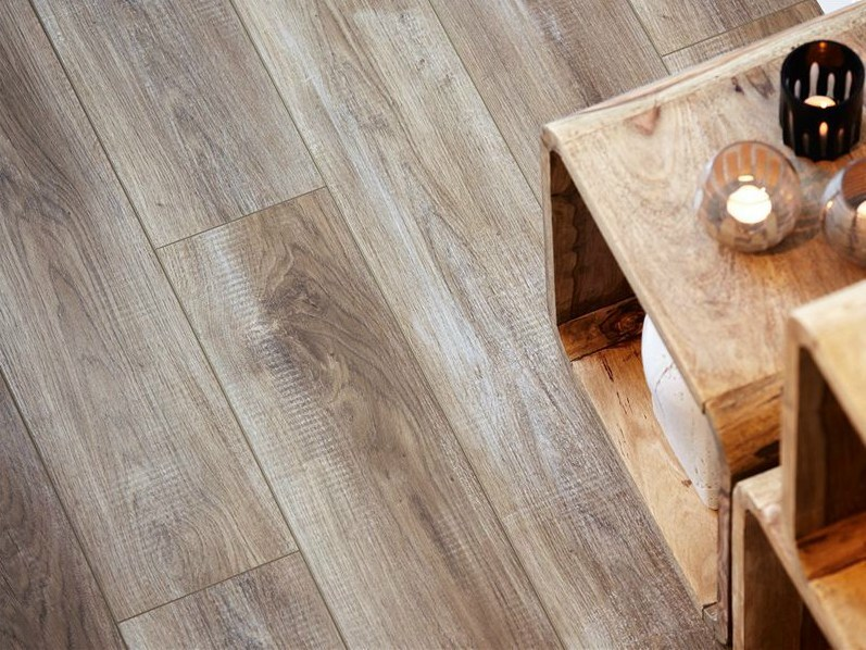 Laminate flooring with wood effect CHALKED TAUPE OAK by Pergo