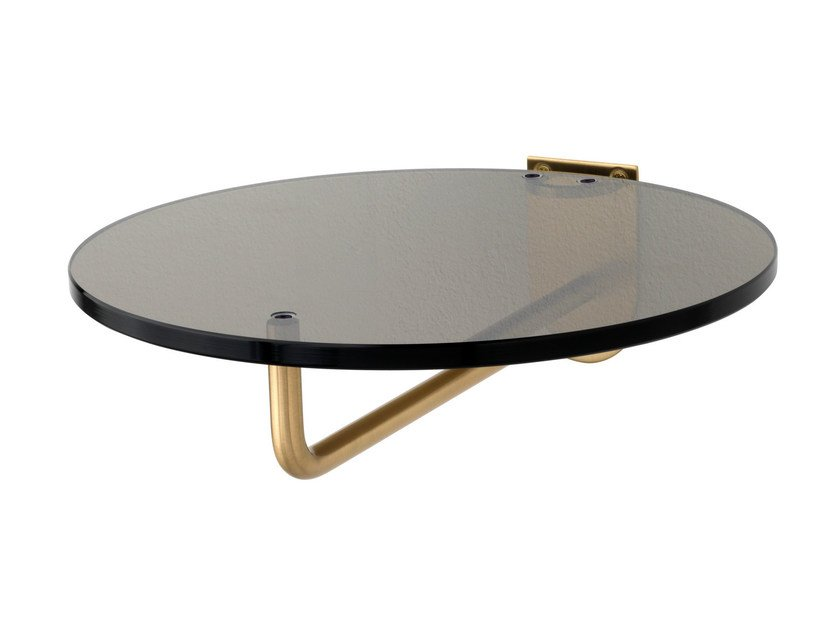 Wall-mounted brass coat rack with glass shelf FRISBI | Coat rack by Schönbuch