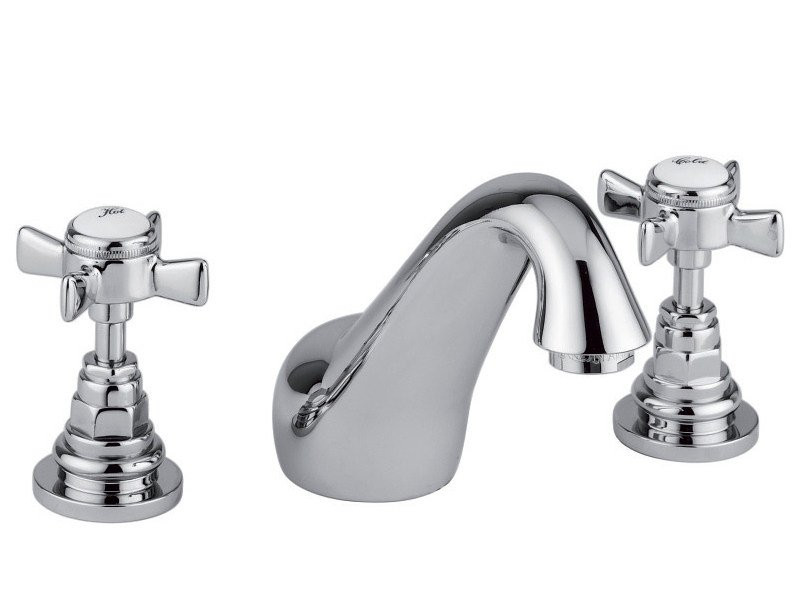 3 hole chrome-plated washbasin tap KENSINGTON | Washbasin tap with individual rosettes by Rubinetteria Giulini