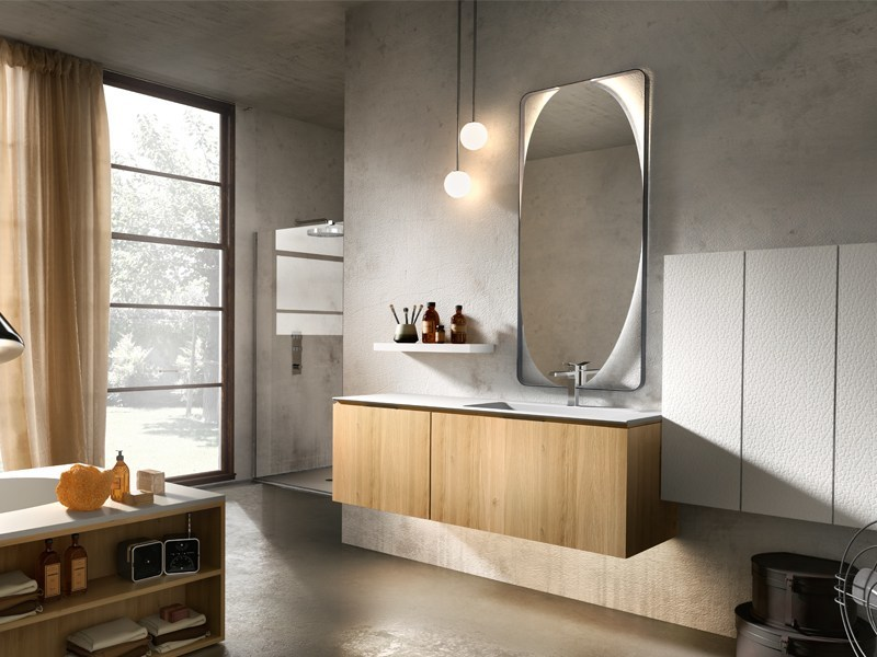Wall-mounted oak vanity unit with cabinets MAIA 303 by Edoné by Agorà Group