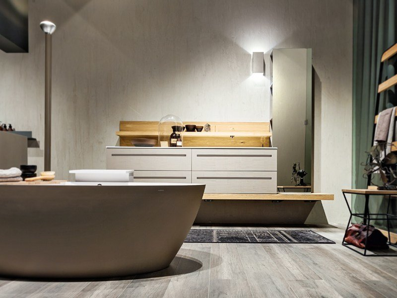 Lacquered wall-mounted vanity unit with drawers KER by Edoné by Agorà Group